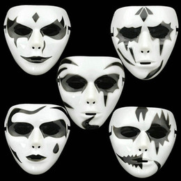 Wholesale Paint Ball Masks - Hand-painted Plastic Masks Hip-hop White Mask Dance Step Ghost Unisex Elastic Band Party Ball Custume Prom Prop ZA1401