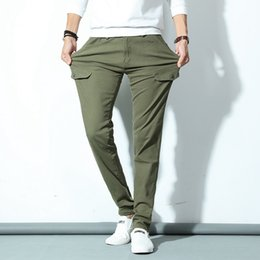 Wholesale Youth Pants Wholesale - Wholesale- Multi-pocket Overalls Pants Male Spring And Autumn Casual Pants Korean Trousers Youth Army Green Long Pants Free Shipping