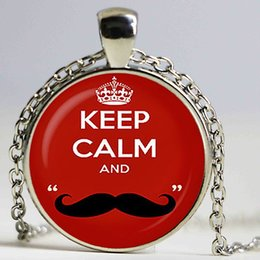 Wholesale Moustaches Necklaces - Keep calm and love moustache Red Pendant. Keep calm Necklace. Keep calm on jewelry, red. Birthday gift