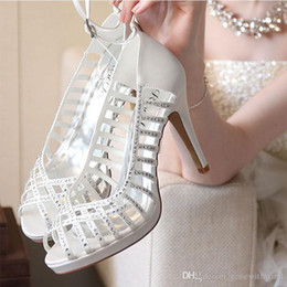 Wholesale Women Beaded Pumps - fashion women shoes for wedding sandals ivory black wedding high heels crystals beaded bridesmaid prom party shoes