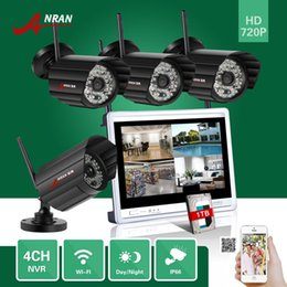 Wholesale Security Camera 48ir - ANRAN 4CH 720P 12Inch LCD Screen Wireless NVR 1TB HDD Surveillance CCTV 48IR 1.0MP WIFI IP Camera Home Network Security System