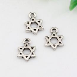 "Wholesale Wholesale Star David - MIC 500pcs Antique silver Zinc Alloy ""Star of David"" Charm Pendants DIY Jewelry 9x13mm A-023"
