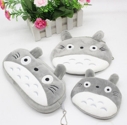Wholesale Totoro Plush Pencil Case - 3 size of cute my neighbor totoyo Grey Totoro Pencil Case Box Cosmetic Bag Pouch-large plush pencil box money bags handbags for kid