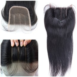 Wholesale Side Parting Brazilian Hair Closure - Brazilian Straight Lace Closure 3 Way Part Bleached Knots Cheap Unprocessed Virgin Human Hair Full Lace Closure With Baby Hair