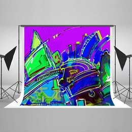 Wholesale Backdrop City - 7x5ft Hip Hop Photography Backdrops for Photographers Abstract City Cotton No Wrinkle Reused for Children Graffiti Photo Backdrop HJ04258