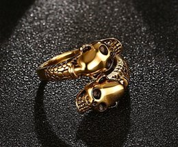 Wholesale Skull Color Ring - Fashion Vintage Skull Ring men Gold Steel color Stainless steel Jewelry trendy bague homme US size 7-11 club anel masculino