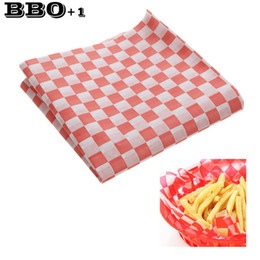 Wholesale Paper Food Liners - 24pcs 12''x12'' Hamburger Paper Wax Paper Food Disposable Sandwich Packaging Paper Red white Checkered Fast Food Basket Liners