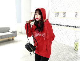 Wholesale Women S Cashmere Sweaters Wholesale - HOT SALE!Red hooded sweater plus cashmere loose jacket student men and women tide brand spring hoodie