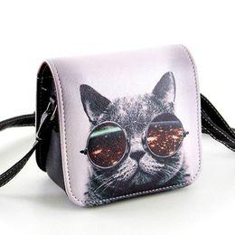 Wholesale Interior Glass - Wholesale-Bolsa Bolsos Carteras Mujer Marca Women PU Leather Cat Wearing Big Glasses Print Shoulder Handbags Bag D11-86
