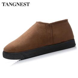 Wholesale Zipper Shoes For Men - Wholesale- Tangnest Winter Men Cotton Shoes 4 Colors Fashion Side Zipper Men's Snow Boots Warm Plush Ankle Boots For Man Size 39~45 XMM154