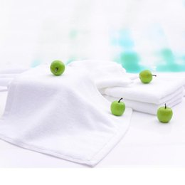 Wholesale Small Soft Washcloth - 30cm*30cm-White towel--100% Cotton-Towel-Washcloth-For Guesthouse Hotel Bathing Beauty salon-Small Squre-Solid Color-Soft-High quality