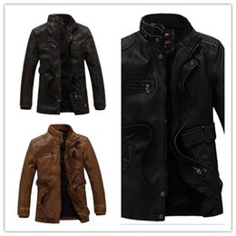 Wholesale Male Leather Wool Clothing - Men Autumn Winter Leather Jacket Motorcycle Leather Jackets Male Business casual Coats Brand New clothing veste en cuir,YA349