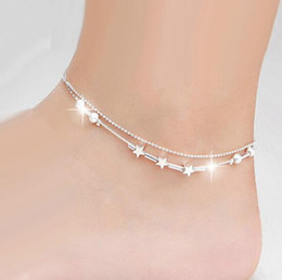 Wholesale Trendy Boots For Women - Hot Sale Sexy star ankle bracelets beach jewelry 2017 925 Sterling silver Double layers anklets jewelry for Women Boot Foot Jewelry