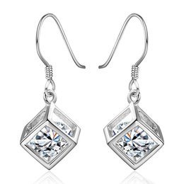Wholesale Brass Jewerly - Jewerly Silver Plated Vintage Hollow Cubic Drop Earrings with Shining Free-moving Ellipsoid Zircon Romantic Women Fashion Jewelry