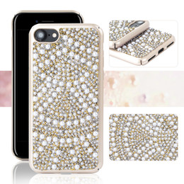 Wholesale Plastic Rocks - Luxury Crystal Pearl Rhinestone Case paint color PC Bling Glitter rock Diamond Material cover For IPhone X 8 7 6s 6 Samsung S8 Plus OPP BAG