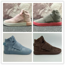 Wholesale Famous Cotton Tops - 2016 Fashion Top Quality Famous Originals Tubular Invader Strap Kanye West 750 Boost Mens Sports Running Athletic Sneakers Shoes Size 36-46