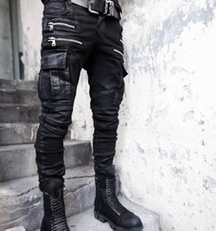 Wholesale Men Capris Xxl - Wholesale-New Fashion Brand Zipper Mens Biker Jeans British Style Harajuku Slim fit Jeans Men Pants Black Motorcycle Rock Jeans Men M-XXL