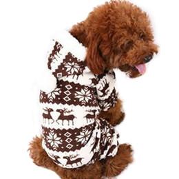 roupa do cão para fêmeas frete grátis Desconto Pequeno Cão Casaco Floco de Neve Veados Pet Fleece Warmer Pano Chrismas Casaco Com Capuz