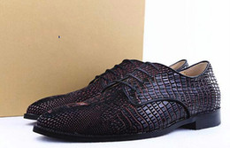 Wholesale Pattern For Leather Dress - New Style Crocodile Pattern Men Oxford Shoes Flat Dress Shoes Lace Up Cowhide Leather Alligator Shoes For Men