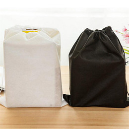 Wholesale Dust Bag Shoes Cover - Promotion Non-woven Shoe Drawstring Travel Storage Shoe Dust-proof Tote Dust Bag Case Black White Pouch Tote Bag Dust-proof Shoe Free ship