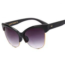 Wholesale Snakeskin Nail - Vintage Women Cat Eye Sunglasses Brand Designer Semi-rimless Snakeskin Pattern Legs Nail Decration Coating UV400