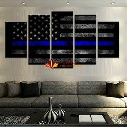 Wholesale Discount Modern Art - Drop Shipping 5 Piece HD Printed Thin Blue Line Painting Canvas Print Modern Wall Art Picture Discount Canvas Art