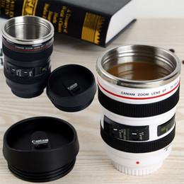 Wholesale Slr Coffee Mug - Newest Creative Camera Lens Coffee Mug 400ml Stainless Steel Liner Tea Cup 5 Generation Tumbler Travel Mug SLR Lens Bottle Gifts WX-C31