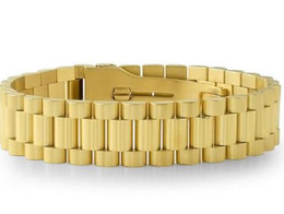 Wholesale Watch Chain Copper - 18K IP Gold Presidential Mens Watch Band Style Bracelet