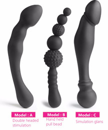 Wholesale Double Anal - NEW 3 Styles Manual Black Big Pull Beads Anal Plug Silicone Dildo Anal Double Head Butt Plug Sex Toys For Gay Men