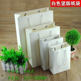 Wholesale Custom Paper Shopping Bags - Wholesale- wholesale 500pcs lot custom logo 10 Sizes white paper bag shopping bag clothes jewellery bag for advertisement free shipping
