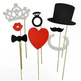 Wholesale Mustache Lips - Wholesale-Photo Booth Props 8Pcs DIY Hat Crown Mustache Lip Ring Heart Crown Stick Lovely Party WeddingDecoration Festive & Party Supplies