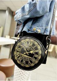 Wholesale Wholesale Clock Purse - Wholesale- 2016 women's handbag circle handbag one shoulder mini shoulder messenger bag round clock vintage coin purse cross BODY PA641802