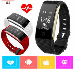 Wholesale Outdoor Gps Watches - 2017 Dynamic Heart Rate S2 Smartband Fitness Tracker Step Counter Smart Watch Band Vibration Wristband for ios android pk ID107 fitbit tw64