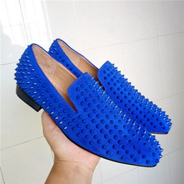 Wholesale Purple Spiked Heels - Fashion Blue Suede Studded Stuts Spikes Moccasins Shoes Men's Smocks Slipper Casual Shoes Men Dress Apartments Loafers Shoes
