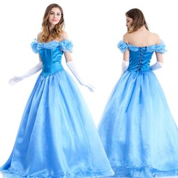 Wholesale Halloween Costumes For Womens - Fashion womens ladies luxury Cinderella princess costume Adult Cinderella costume fairy tale cosplay For party M L XL