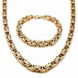 2019 bracelete dos homens byzantine Atacado 8mm Aço Inoxidável Mens Colar Pulseira Set Cadeia Bizantina Preto / prata / cor de ouro 55 CM colar bracelete dos homens byzantine barato