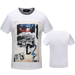 Wholesale Mountain Tee Shirts - 2017 Summer Italy design Tee t-shirts off white color mountain 3632 printing brand loose clothing blouses men black white 2XL
