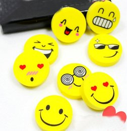 Wholesale Face Eraser - Wholesale-20PCS Cartoon Smile Face Rubber Eraser Art School Supplies Office Stationery Novelty Pencil Tool Set Kids