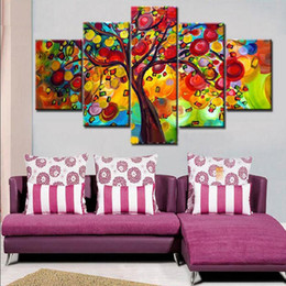 Wholesale Colorful Abstract Art Oil Paintings - Hand Painted colorful tree oil paintings 5 piece canvas art Modern Home Decoration wall pictures for living room