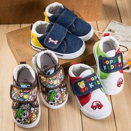 Wholesale I Love Pink Girls - Kids Hook & Loop Canvas Shoes Spring Summer Autumn I love mama & papa Fashion Canvas Shoes Kids Skid Boys Girls Casual shoes MD067