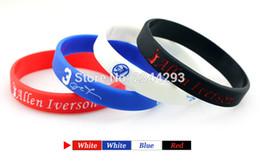 Wholesale Chain Silicone Rubber Bracelet - 4pcs lot Allen Iverson Rubber Bracelets Sport Silicone Wrist Bands 4 Colors Bangles Free shipping