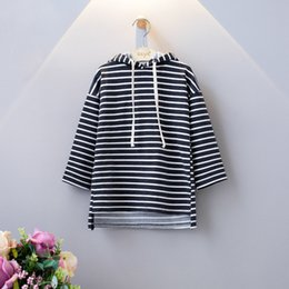Wholesale Knee Length Hoodie - Ins Fashion Girls Dresses Striped Children clothing Hoodies Long sweatshirts High-low Hem Terry Casual dress 2017 Autumn wholesale