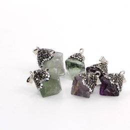 Wholesale fluorite pendant necklace - New Genuine Natural irregular Fluorite Crystal Pendant women Fashion Necklace Pendant Specila Jewelry Gifts for friend