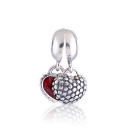 Wholesale Dangle Heart Charms Fit Bracelet - Wholesale Mother & Daughter Dangle Charm 925 Sterling Silver European Charms Bead With Red Enamel Fit Bracelets DIY Jewelry