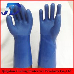 Argentina Los importadores de China venden al por mayor los guantes de nylon revestidos del pvc antideslizante del calibrador 13 / los guantes de trabajo arenosos azules con las muestras libres para el petróleo y el gas Suministro