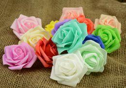 Wholesale Kiss Heads - 7cm Artificial Foam Roses Flowers For Home Wedding Decoration Scrapbooking PE Flower Heads Kissing Balls Multi Color G57