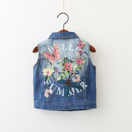 Wholesale Girls Jeans Vest - New Fashion Girl Denim Waistcoat Sleeveless Cowboy Back Embroidered Flower Butterfly Girls Cardigan Vest Jeans Outwear Clothes Blue A7357