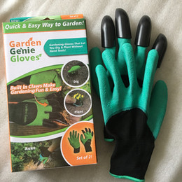 Wholesale Glove Plastic Bags - arden Genie Gloves With 4 Claws Built In Claws OPP BAG easy way to Garden Digging & Planting Gloves Waterproof Resistant To Thorns