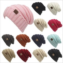Wholesale Trendy Mans Winter Cap - CC Knitted Hats CC Trendy Winter Beanie Warm Oversized Chunky Skull Caps Soft Cable Knit Slouchy Crochet Hats Fashion Outdoor Hats B2360