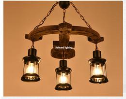 2019 lámpara de anclaje Lámpara de madera colgante retro de la vendimia que se enciende RH Anchor Edison Chandelier Light Chandeliers para Cafe rebajas lámpara de anclaje